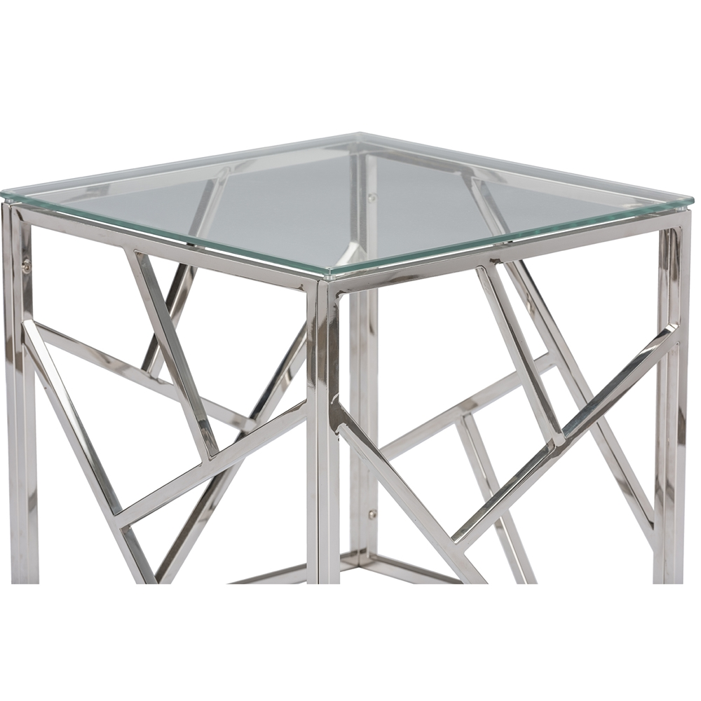 Aero Chrome Glass Modern Side Table