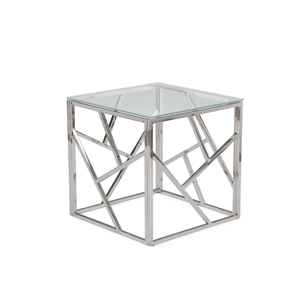 Aero Chrome Glass Side Table Modern Furniture Brickell Collection