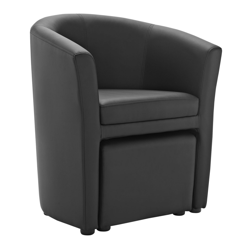 Black Sequence Chair and Ottoman Set 2