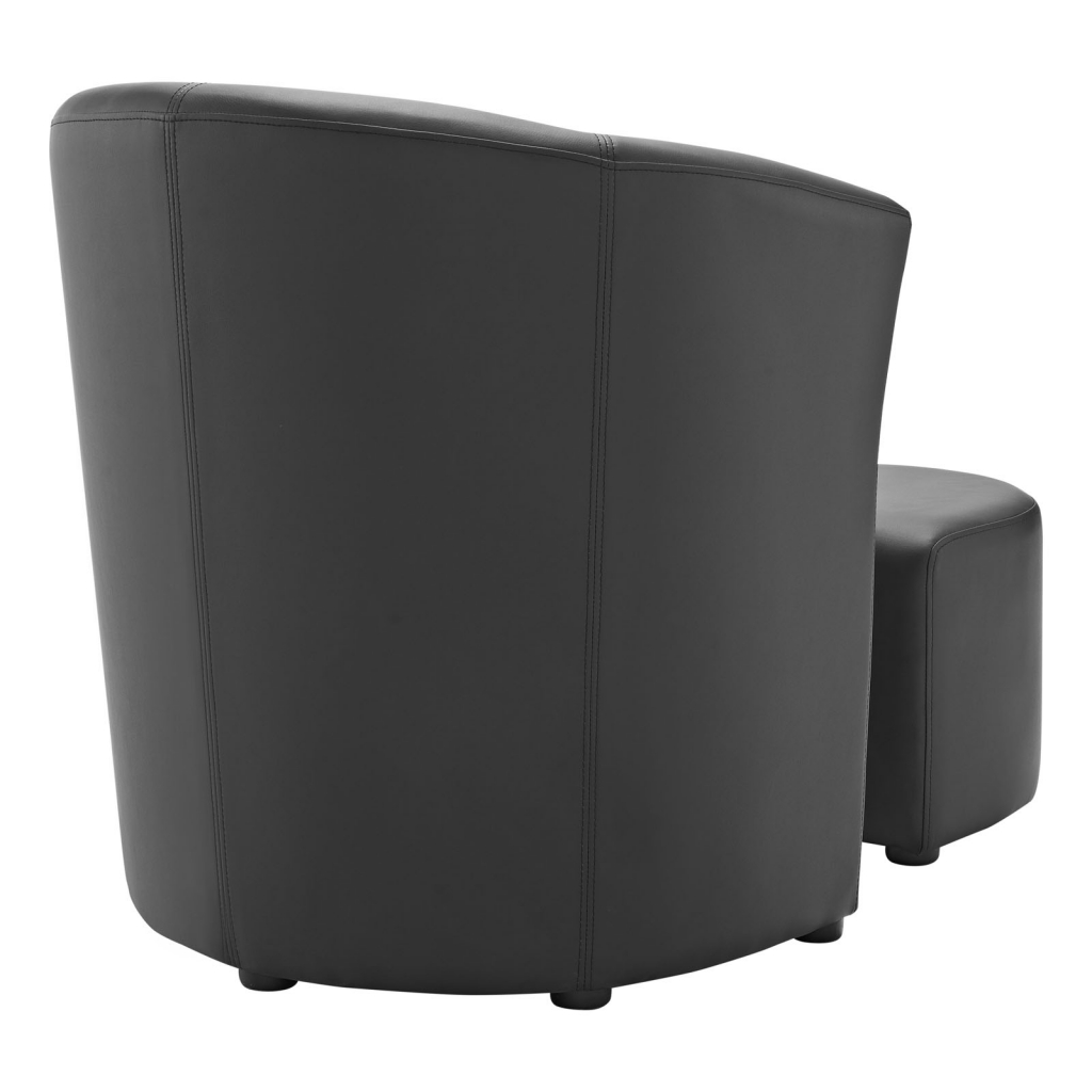 Black Sequence Chair and Ottoman Set 4