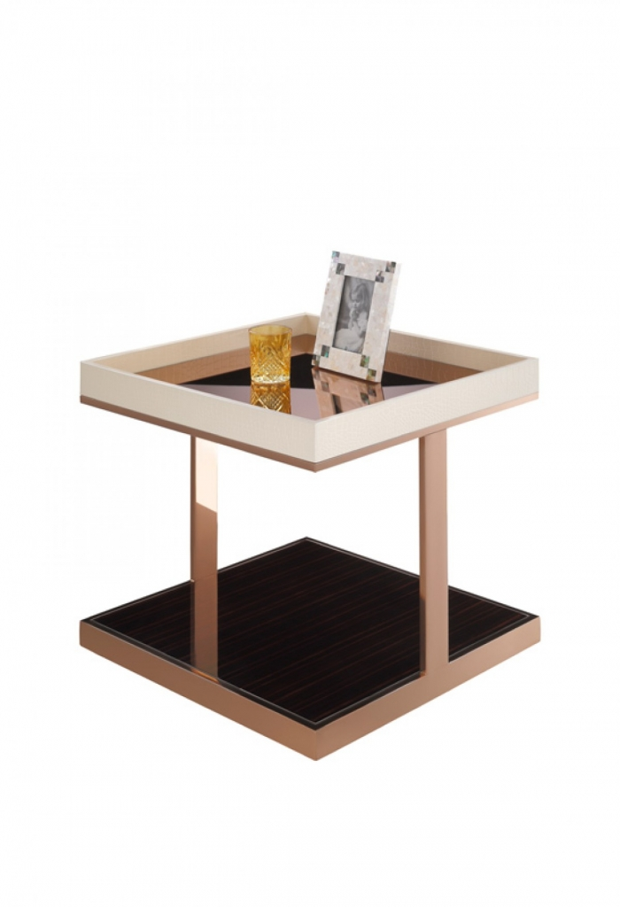 Faceted Rose Gold Side Table1 Home Modern Tables Accent