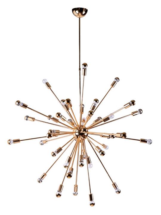 Large Gold Sputnik Chandelier