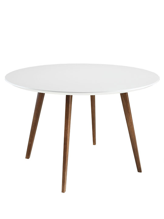 Metro White Walnut Wood Dining Table