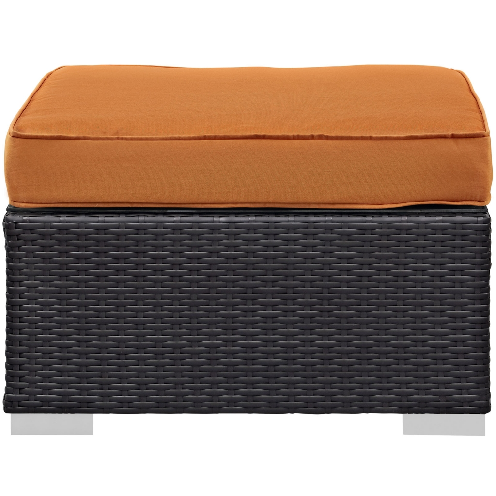 Orange outdoor ottoman