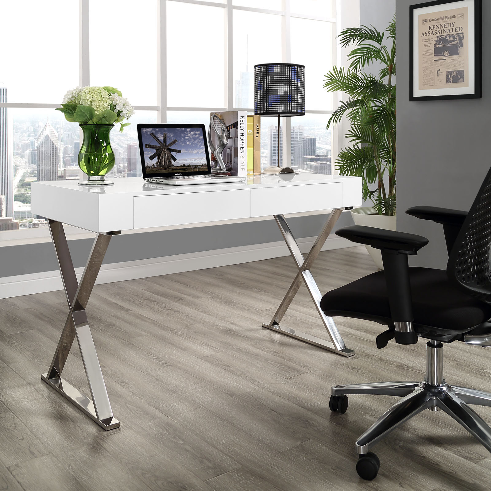 Glam Desk Modern Furniture Brickell Collection