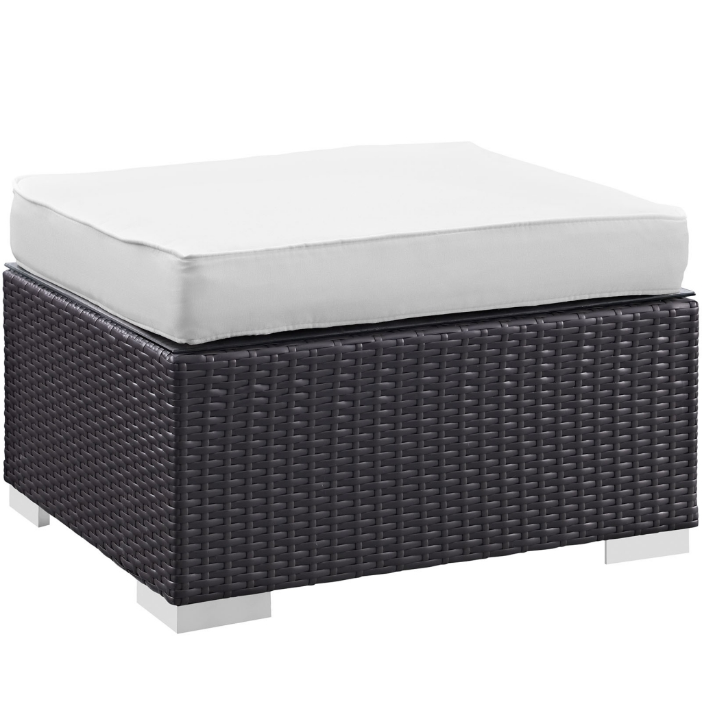 White Moda Outdoor Ottoman 2