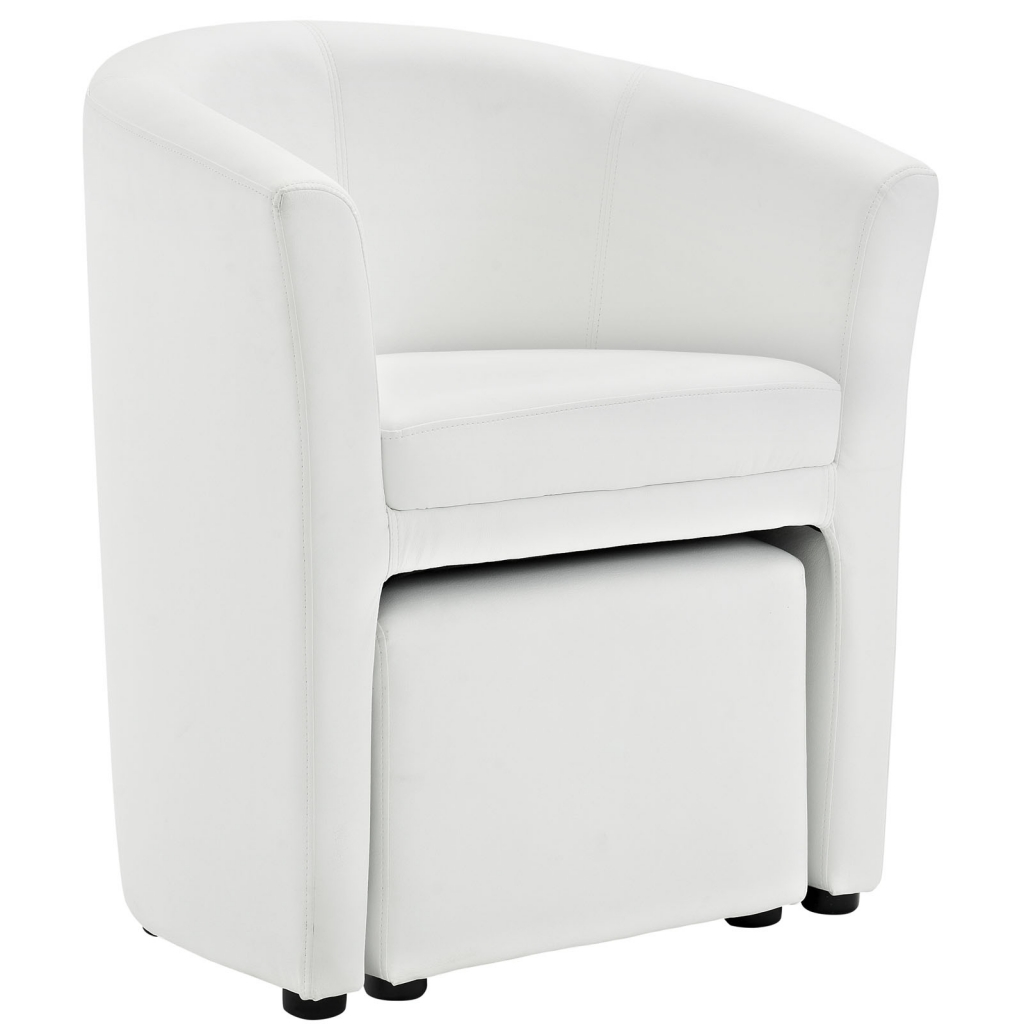 White Sequence Chair and Ottoman Set 2