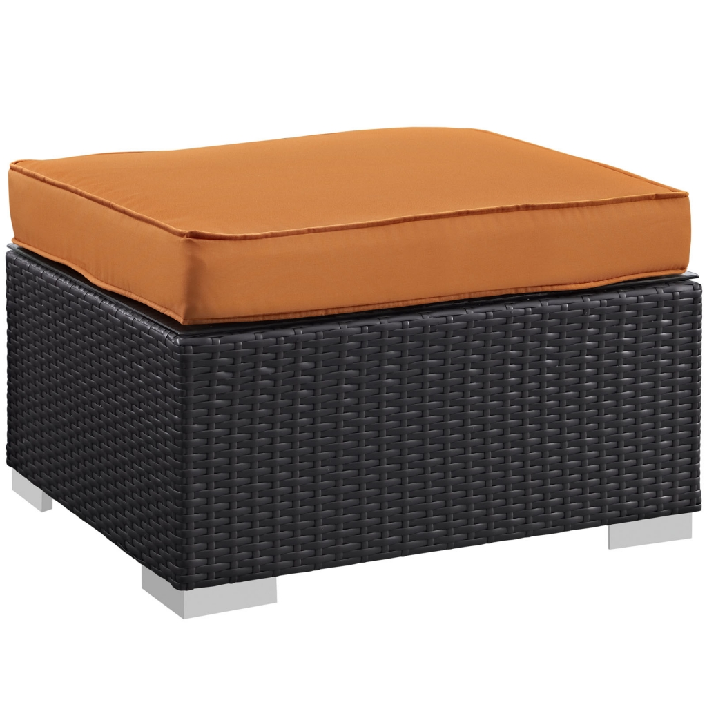 moda outdoor ottoman orange