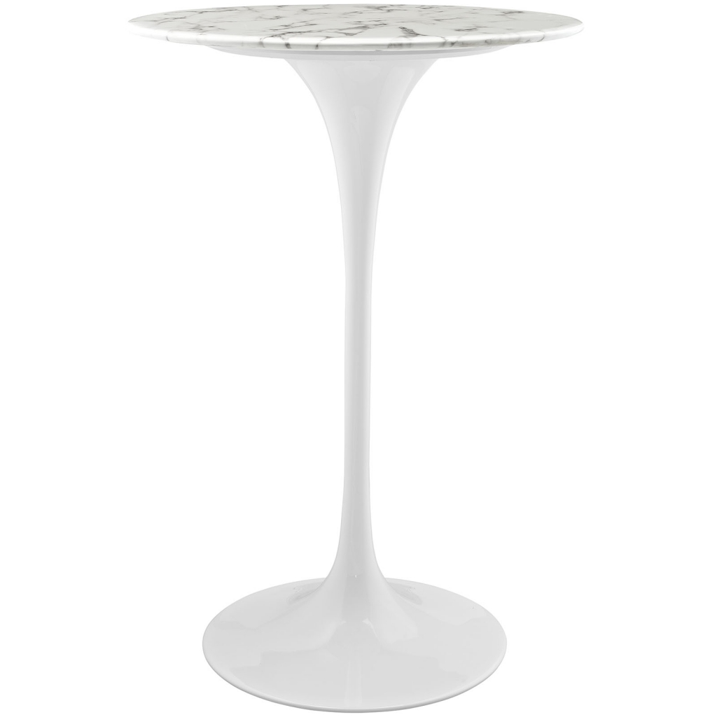 Brilliant white marble bar table