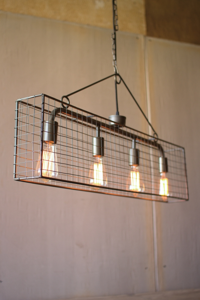 Industrial Caged Rectangle Chandelier 2