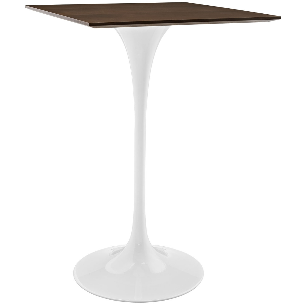 square Walnut Wood Bar Table
