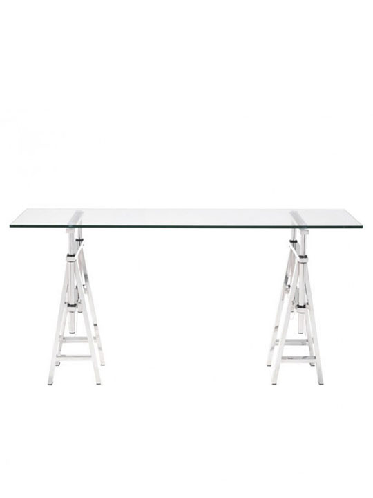 chrome glass console table