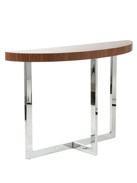 walnut wood chrome console table