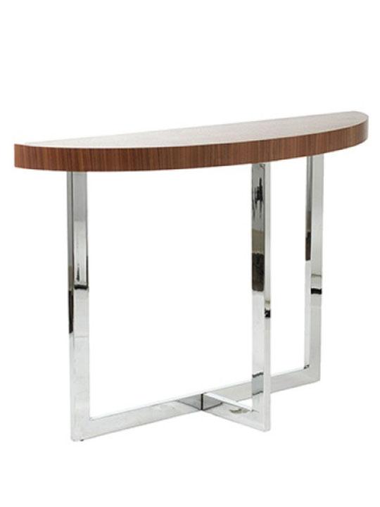 walnut wood chrome console table