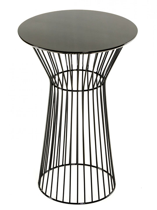 black wire bar table