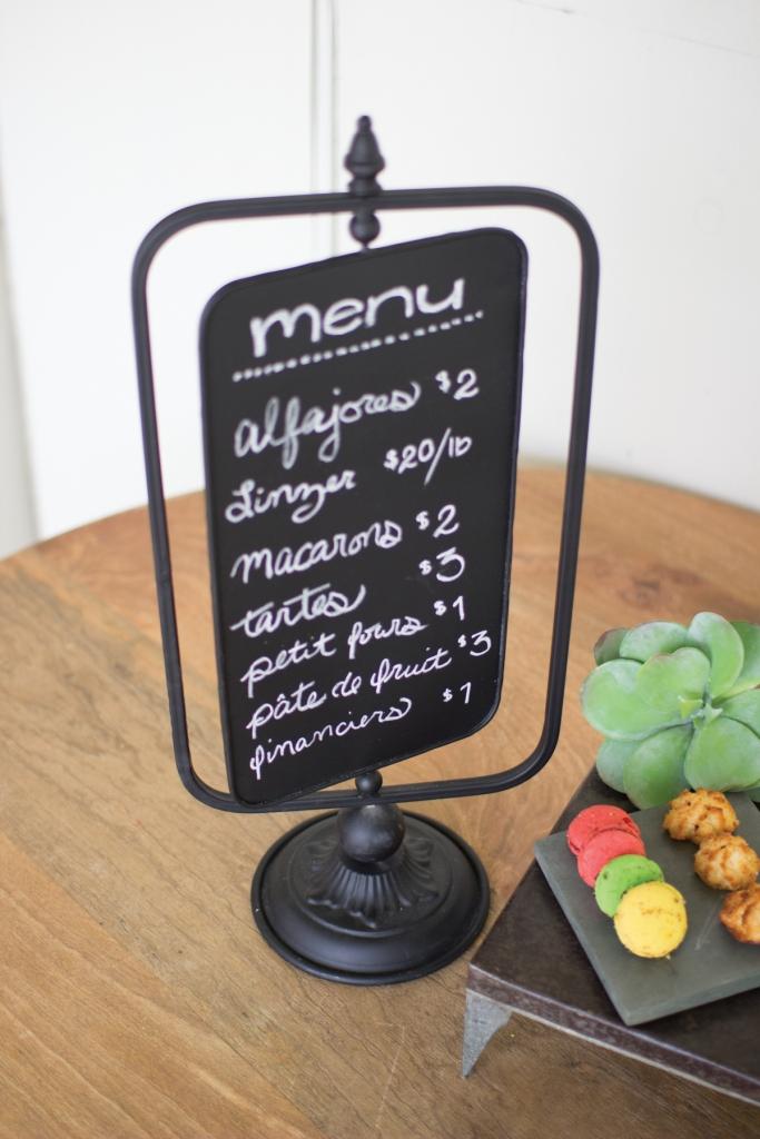 Chalkboard swivel table menu 1