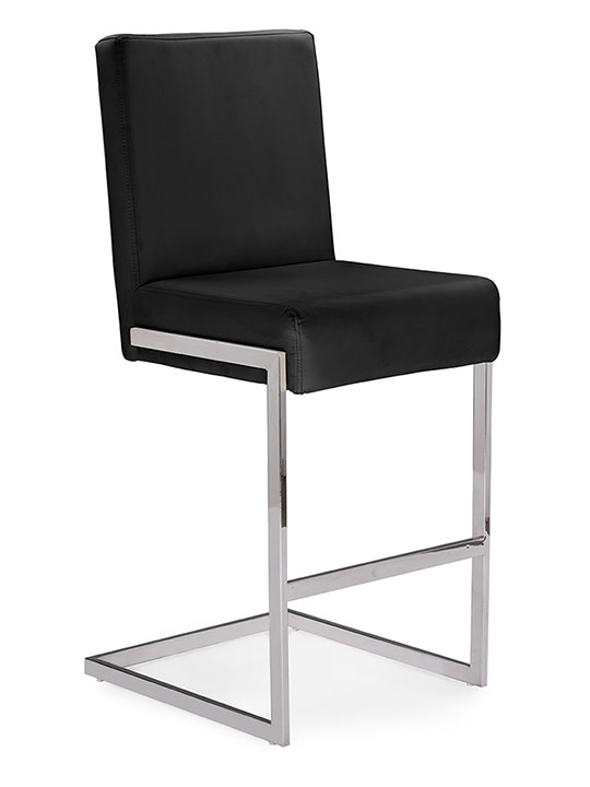 black leather chrome barstool