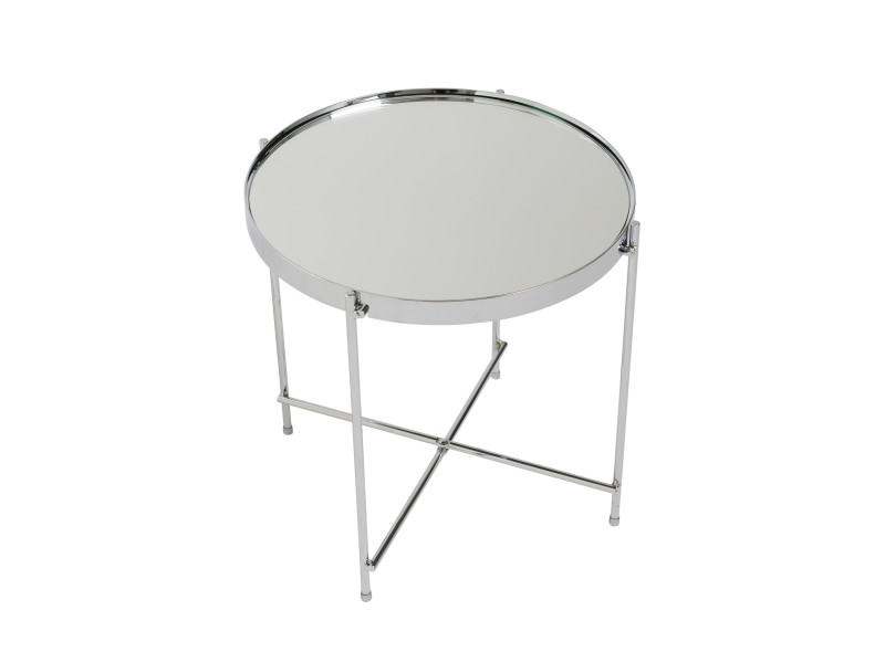 French Chrome Metallic Side Table