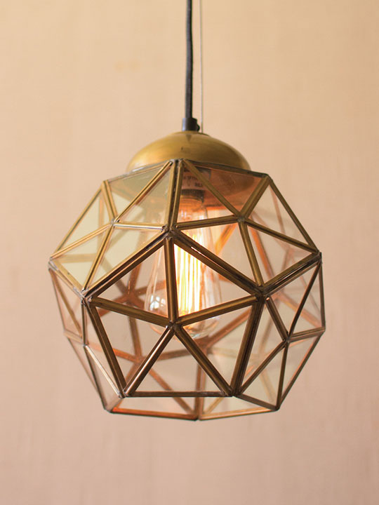 gold geometric pendant light