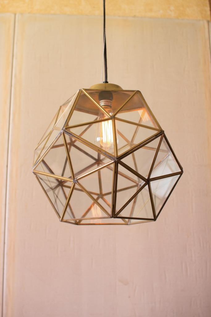 Gold Metal Glass Geometric Large Pendant Light 2
