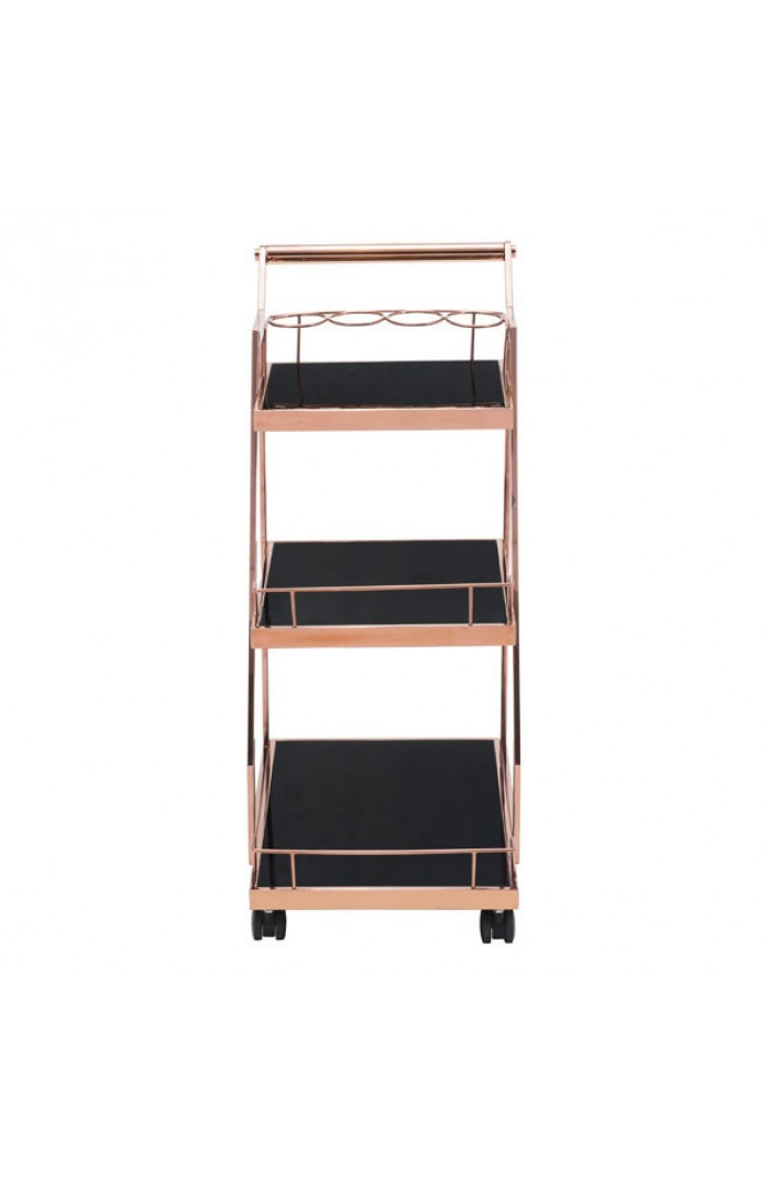 Prestige Rose Gold Metallic Bar Cart 3