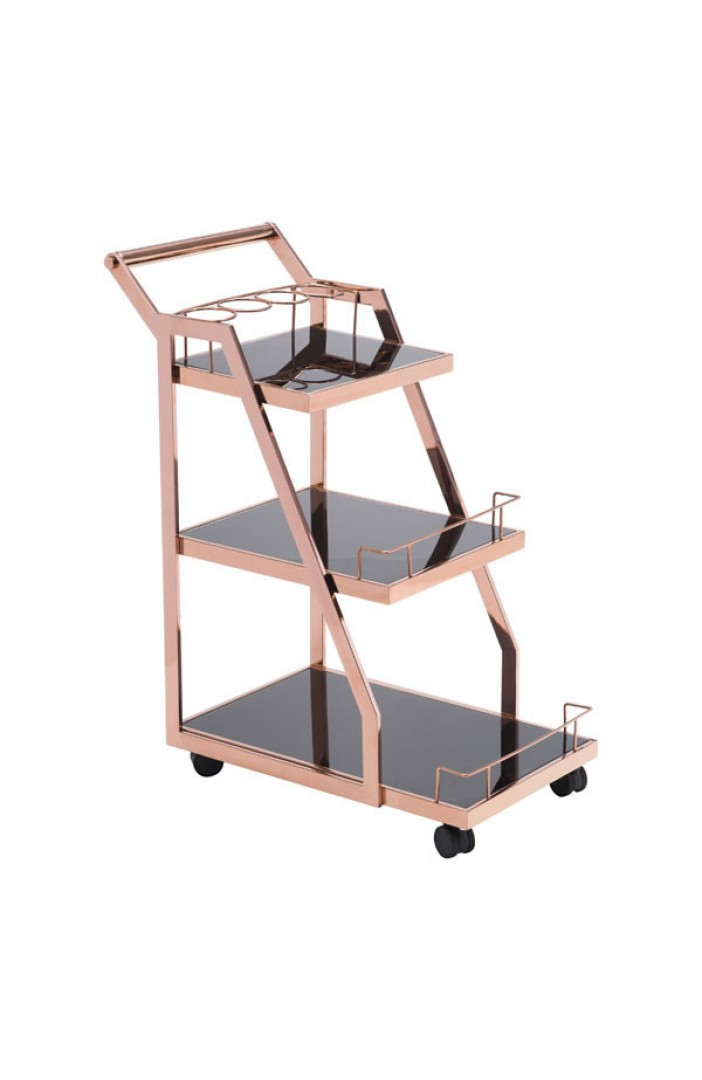 Prestige Rose Gold Metallic Bar Cart 4