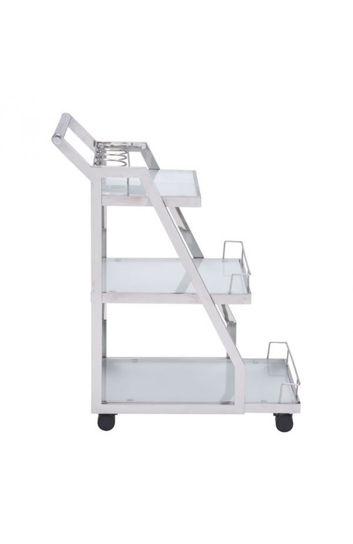 Prestige Silver Chrome Metallic Bar Cart