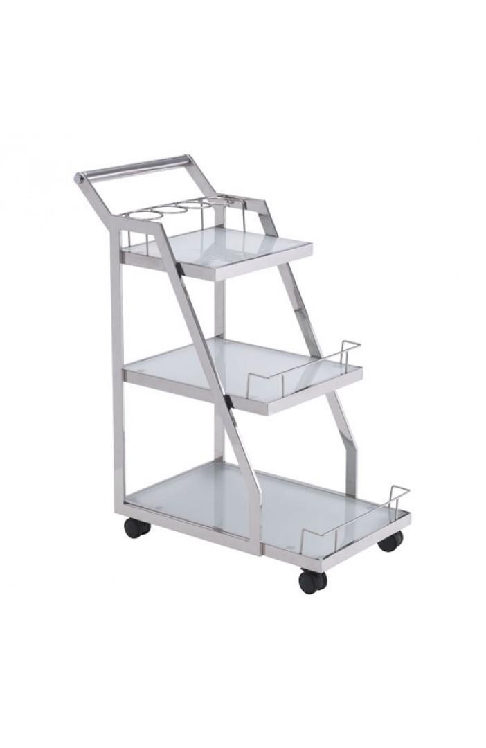 Prestige Silver Chrome Metallic Bar Cart 2