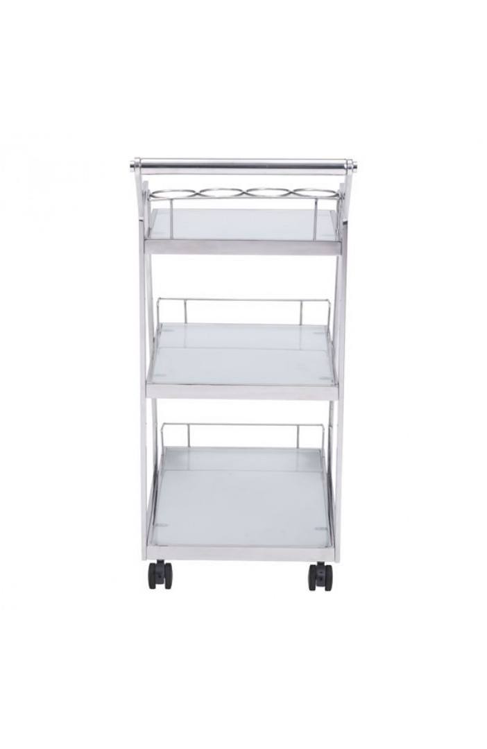 Prestige Silver Chrome Metallic Bar Cart 3