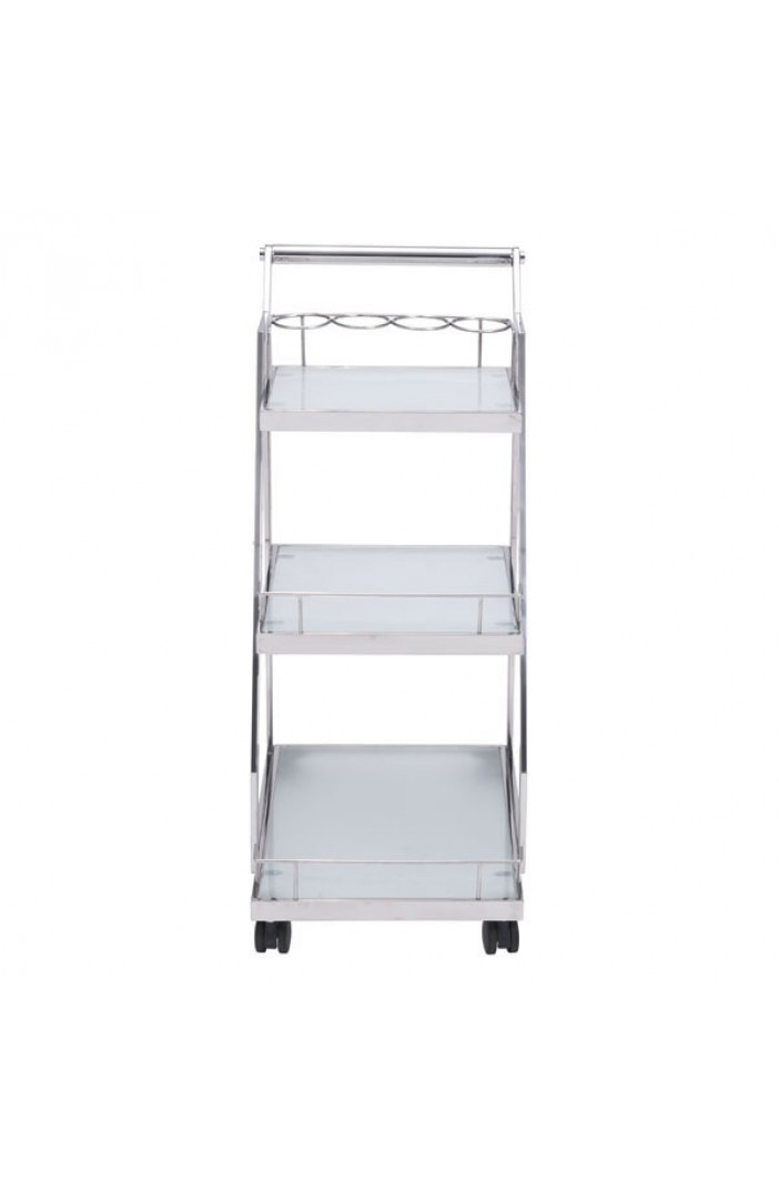 Prestige Silver Chrome Metallic Bar Cart 4