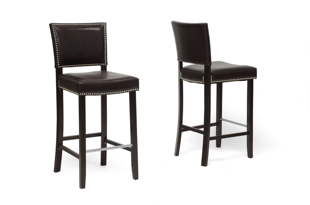 Senna Nailhead Barstool Brown