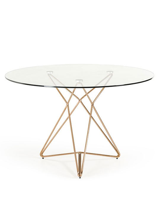 Symmetry rose gold glass table