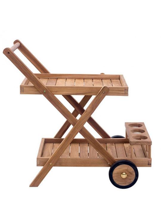 Teak outdoor rolling cart