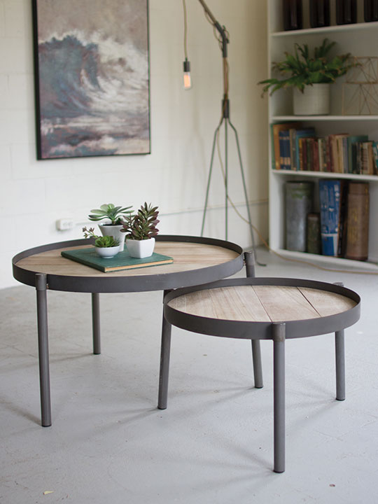 wood and metal nesting table set