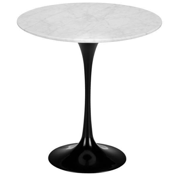 black white marble tulip table
