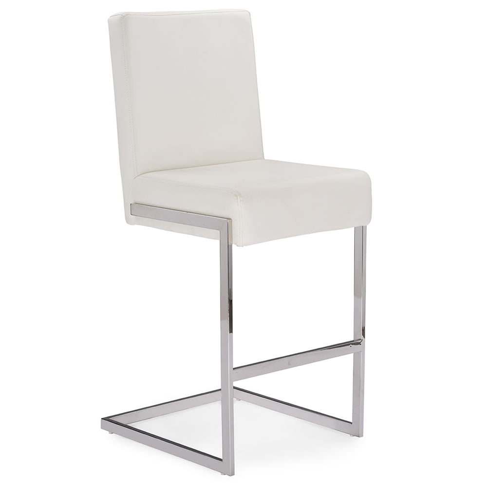 eclipse white chrome barstool 2