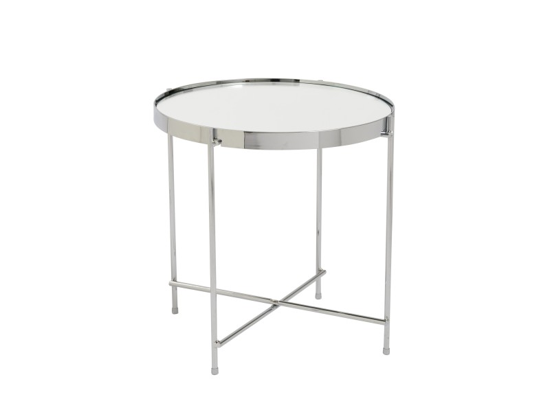 french chrome metallic side table 2