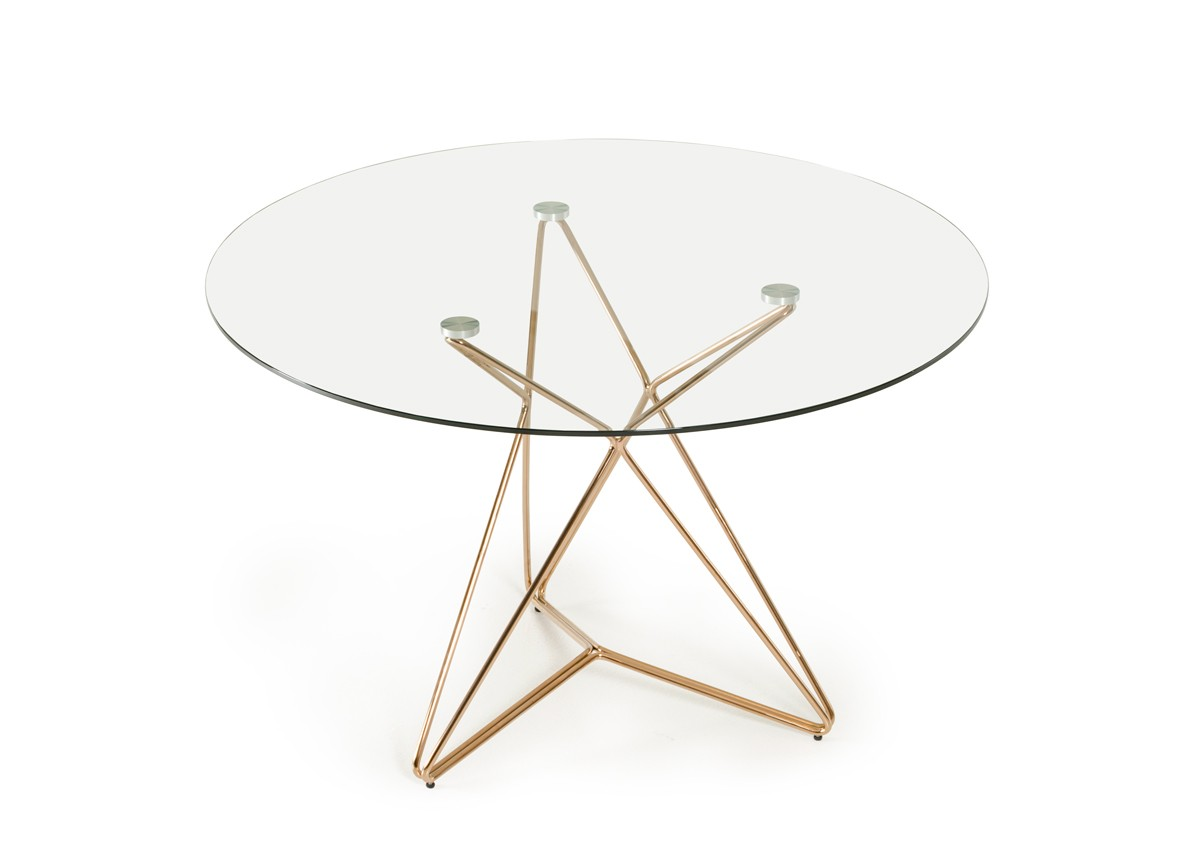 rose gold glass dining table