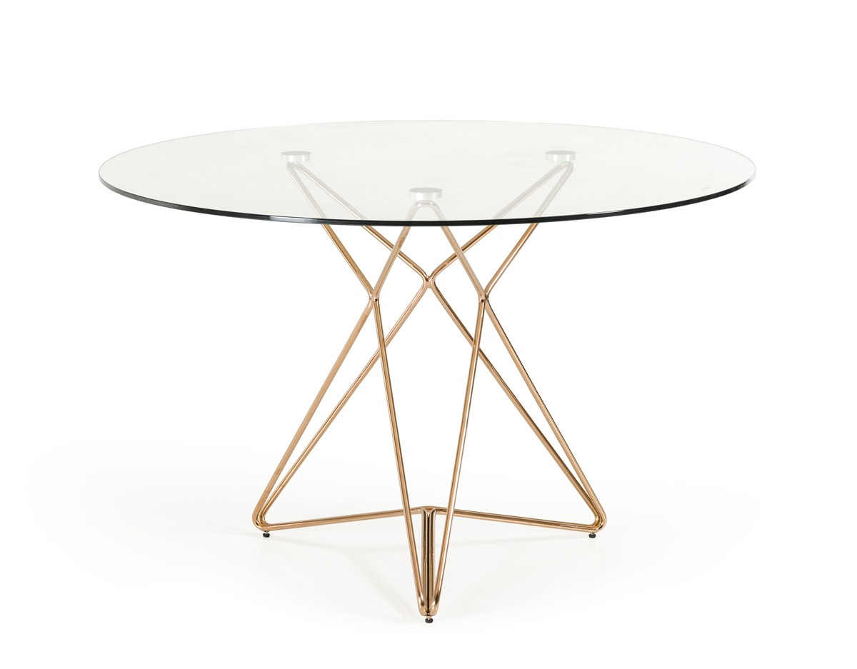 Symmetry Rose Gold Glass Table Modern Furniture