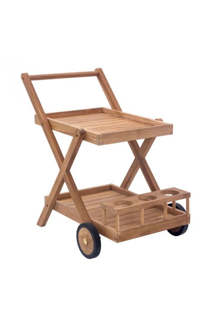 teak outdoor rolling cart 1