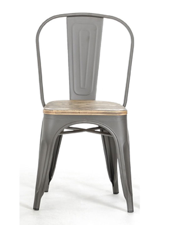 grain wood metal chair
