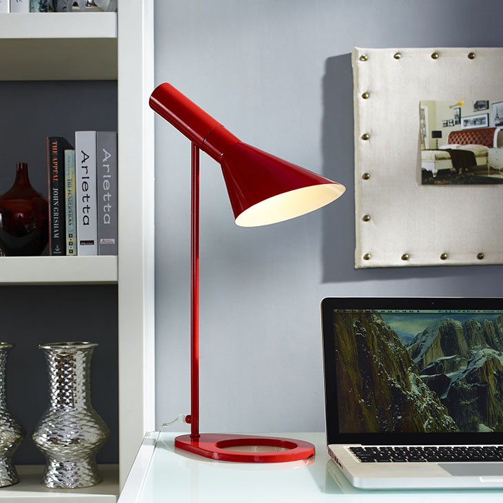 red modern office table lamp