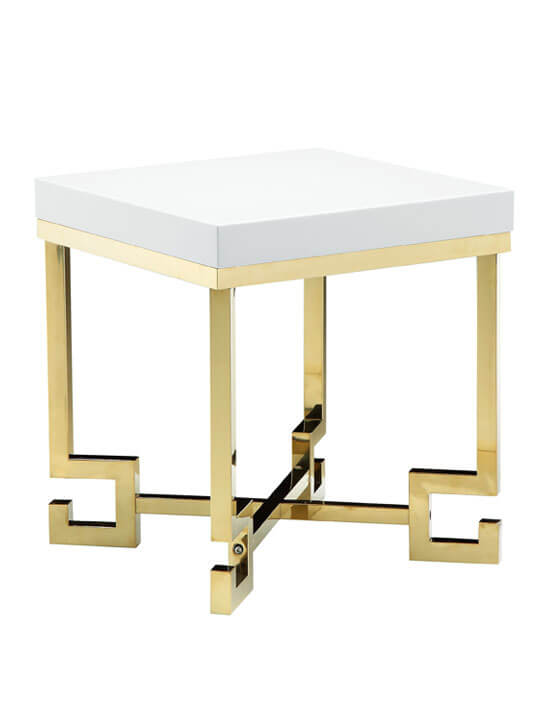 gold white side table