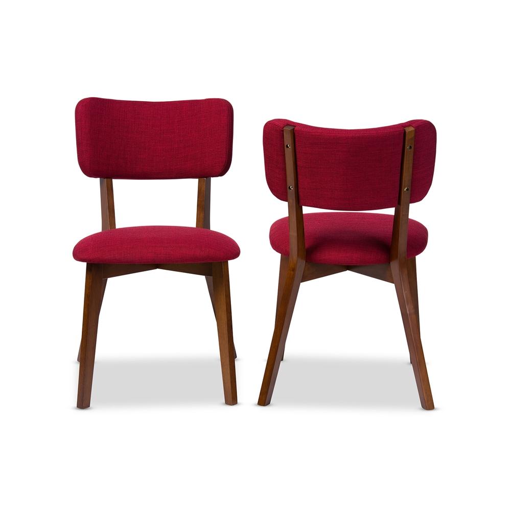 ardon red fabric mid century chair set 2
