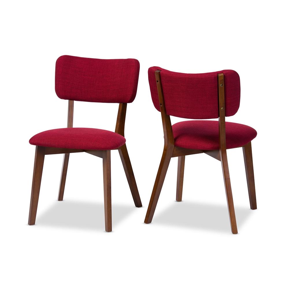 ardon red fabric mid century chair set 3