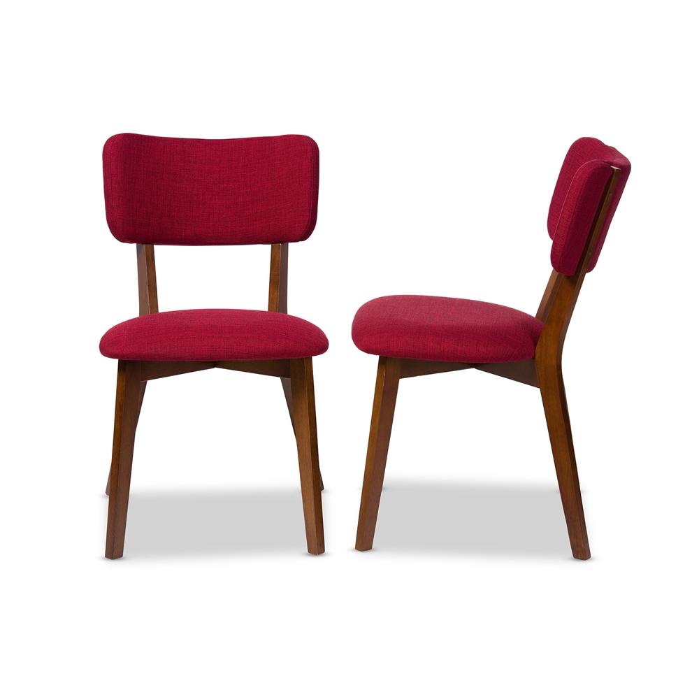 ardon red fabric mid century chair set