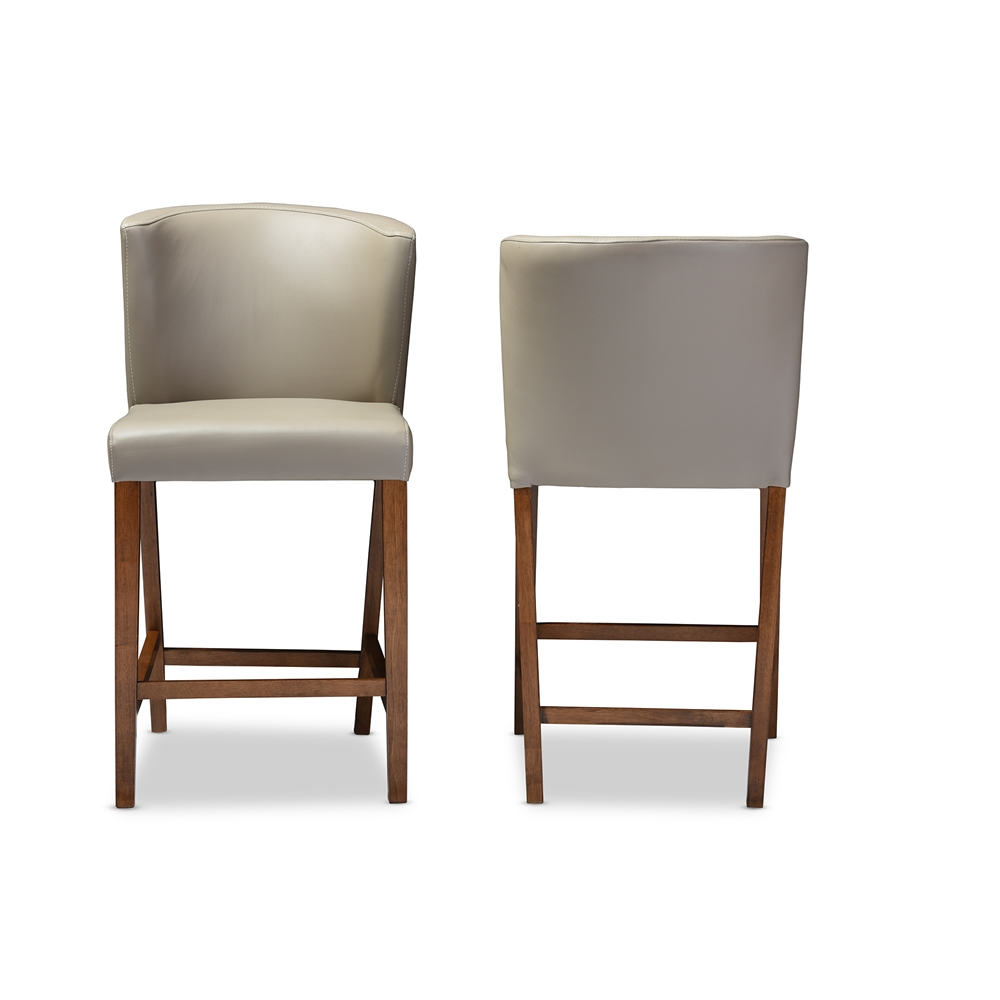 bevel gray leather counter stool 2