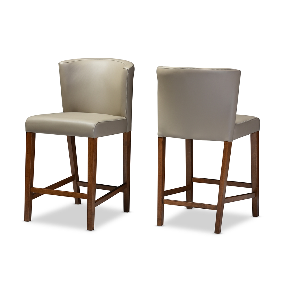 bevel gray leather counter stool 3