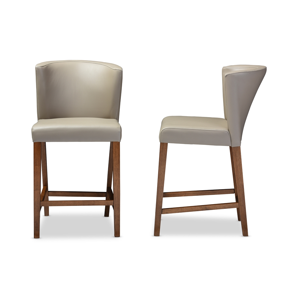 Bevel gray leather counter stool