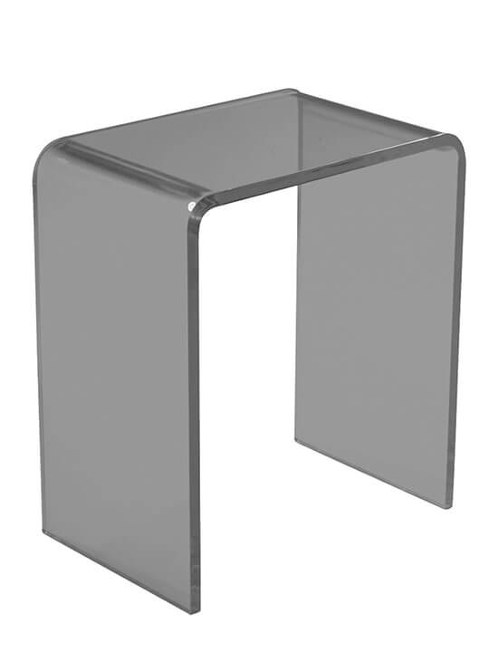gray transparent ghost side table